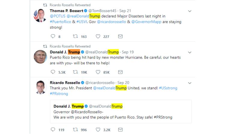 Trump Tweets on Puerto Rico Hurricane Maria