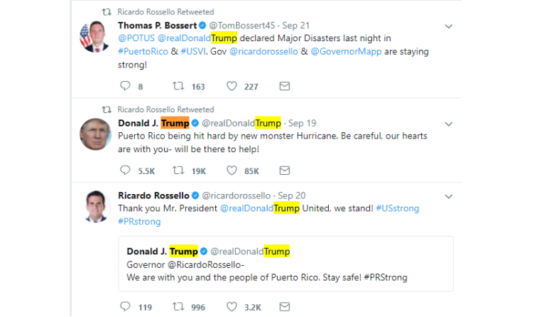 Trump Tweets on Puerto Rico Hurricane Maria